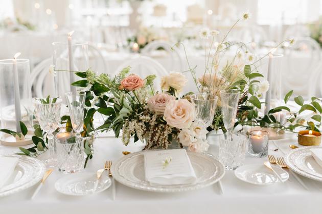 White and blush wedding flowers at the King Edward Hotel wedding