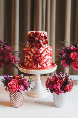 Beautiful red cake by Nadia and Co