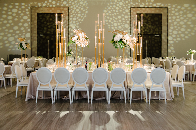 Wedding reception table at Chateau Le Parc