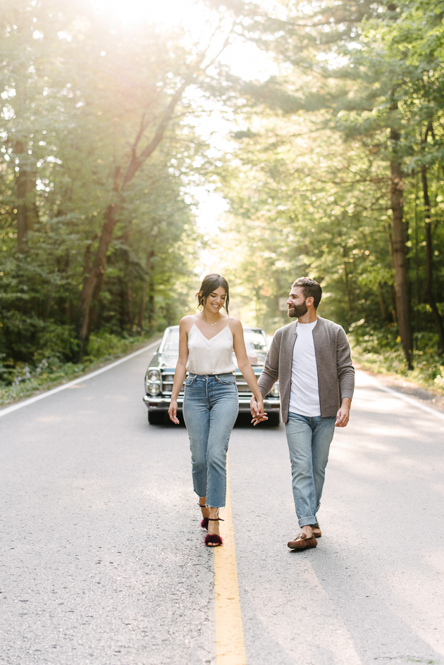 Engagement photos with car
