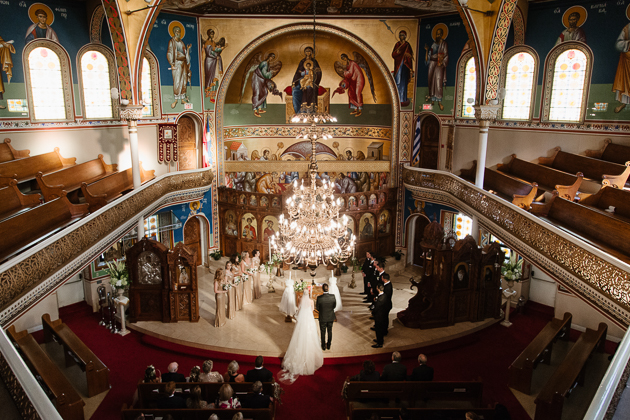 A grand wedding ceremony photo at the church