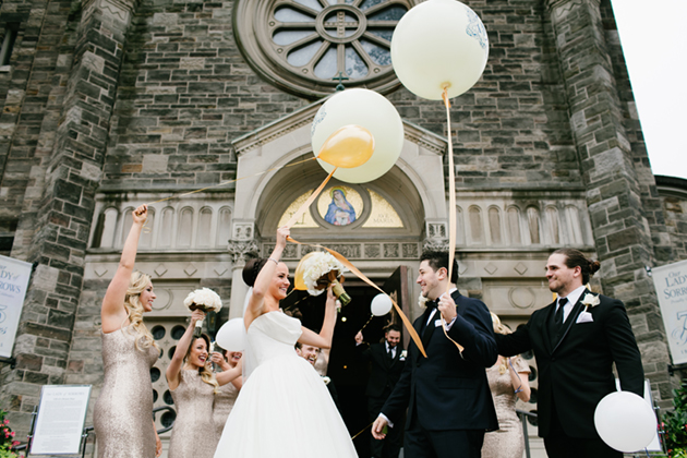 Wedding ceremony balloon release photo