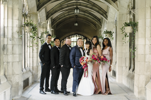 Knox College wedding photo - a perfect bridal party!