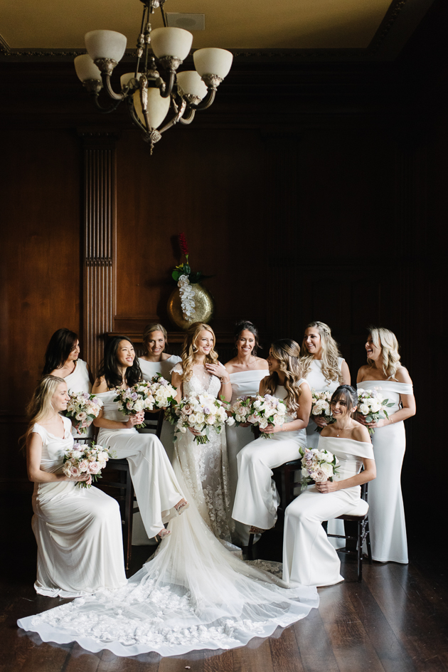 Bride and her bridesmaids at One King West Hotel suite