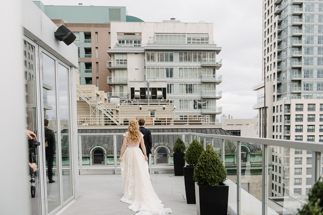 Bride and groom wedding photos at One King West Hotel