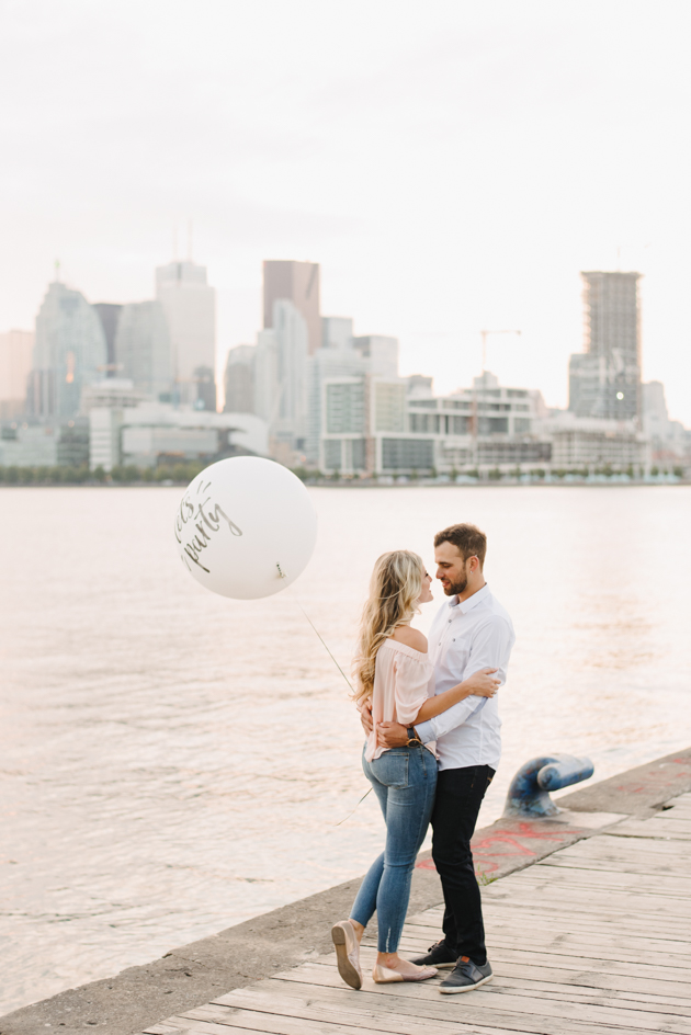 Sunset engagement photos at Polson Pier in Toronto