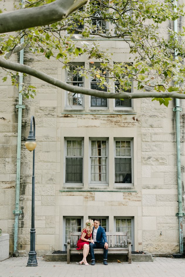 Romantic engagement photos at University of Toronto campus