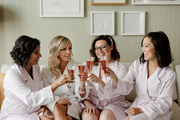 Bride and her bridesmaids getting ready at Four Seasons Hotel Toronto