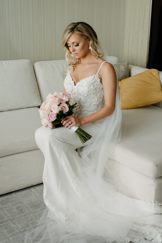 A bride on the morning of her wedding at Four Seasons Hotel Toronto