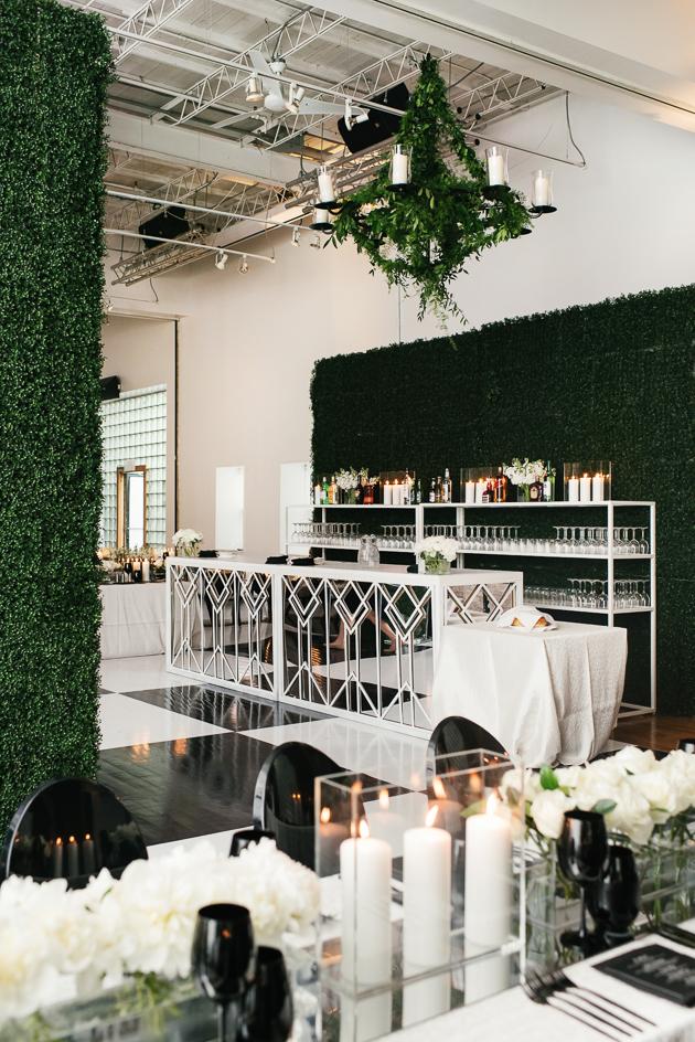 Green and white wedding decor at 99 Sudbury wedding