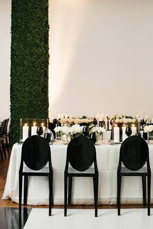 Modern and minimalist wedding decor at 99 Sudbury wedding
