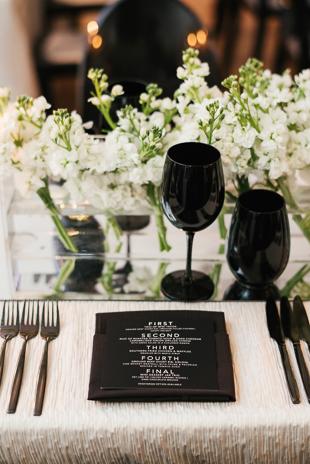 Black and white minimalist wedding decor at 99 Sudbury wedding
