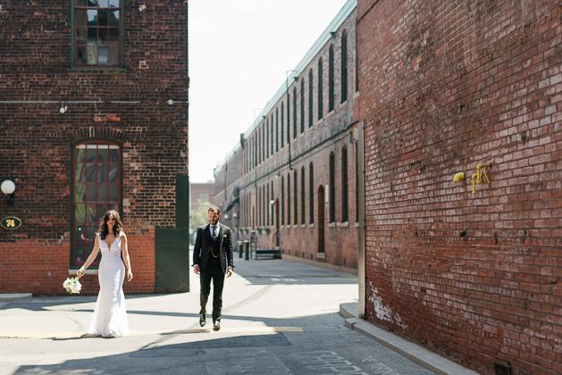 Bride and groom wedding photos at Liberty Village