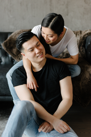 Cozy and intimate at home engagement photos
