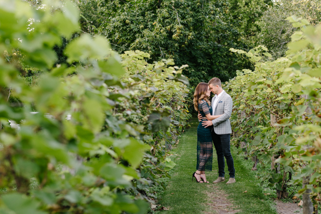 Romantic engagement photos at Spadina Museum winery