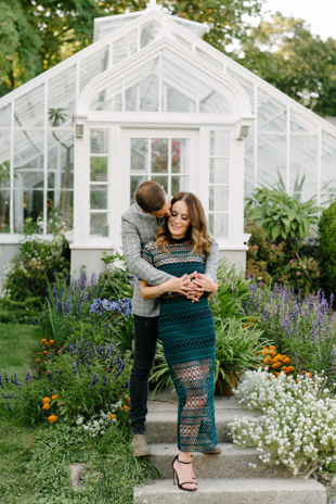 Romantic engagement photos at Spading Museum garden