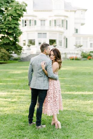 Romantic engagement photos at Spadina Museum