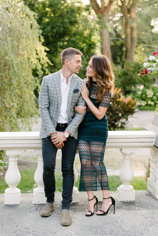 Romantic engagement photos at Spadina Museum garden