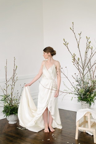 Modern and elegant wedding dress by Catherine Langlois at The Great Hall wedding inspiration shoot