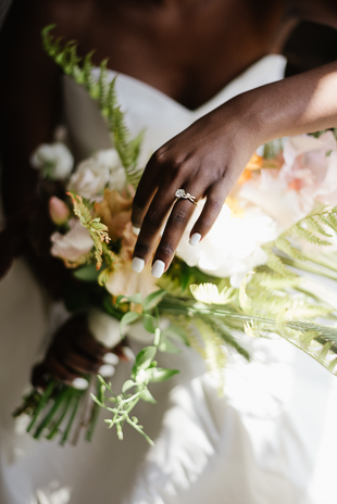 Bride and her gorgeous tropical flower bouquet