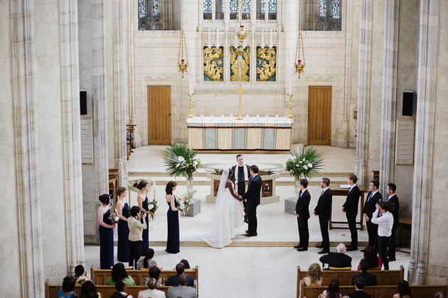 Emotional wedding ceremony at Trinity College Chapel