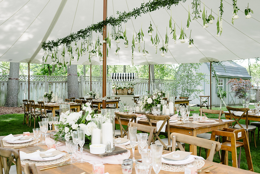summer backyard bridal shower in muskoka