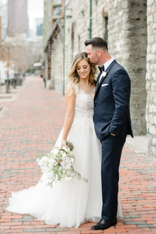 Romantic wedding photos in the Distillery District