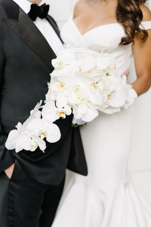 White orchid bridal bouquet by Rachel A. Clingen Wedding & Event Design