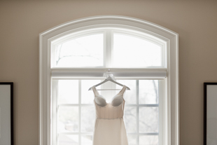 bride's wedding gown on the morning of her wedding