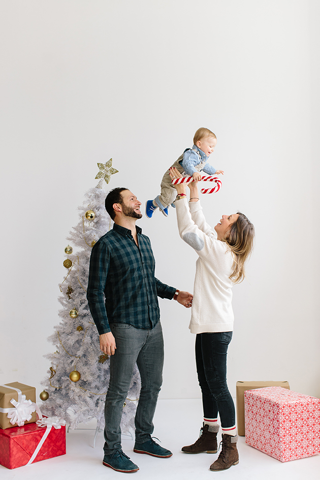 Holiday family photos in downtown studio in Toronto