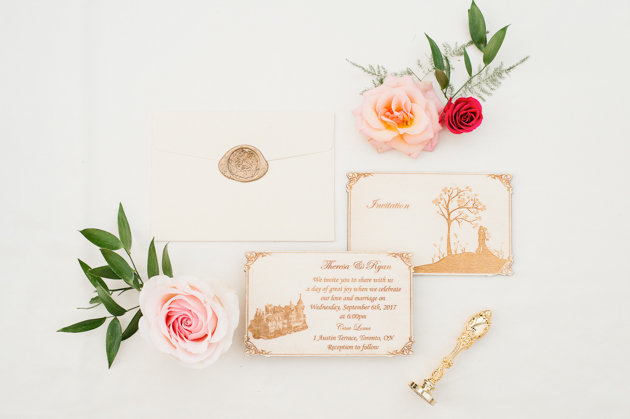 Beautiful wedding invitation set shot by Mango Studios