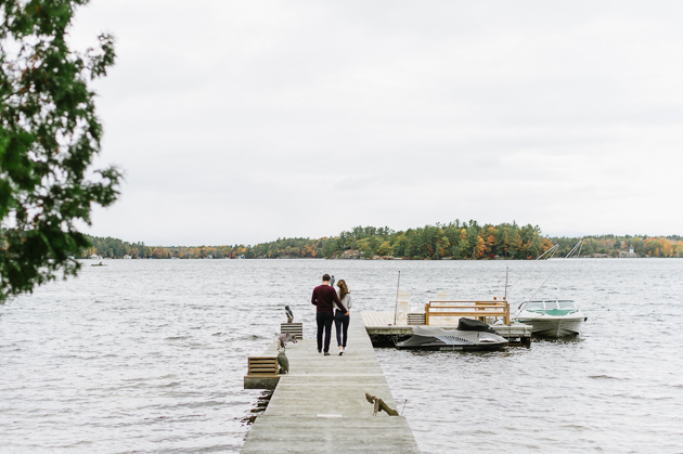 Cozy Fall engagement photos by the lake