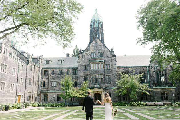 A photojournalistic wedding photo at Trinity College