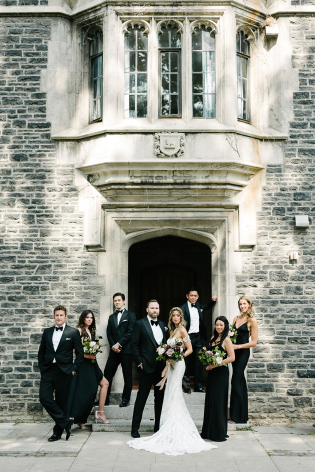 A wedding party portrait at University of Toronto