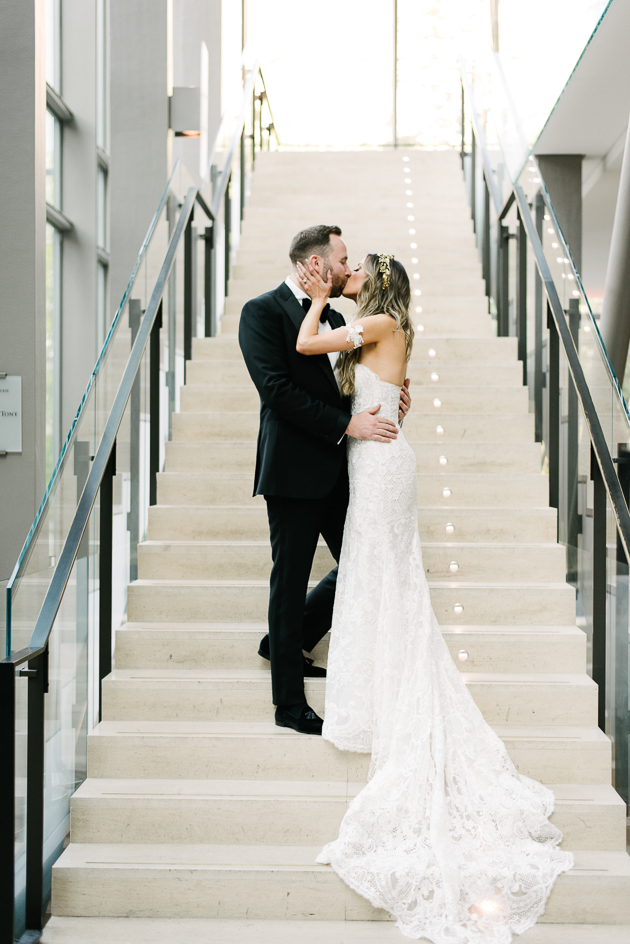 A bride and groom's photo during their Royal Conservatory of Music wedding