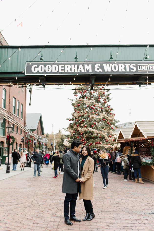Toronto Christmas Market is one of the unique engagement photo locations in Toronto