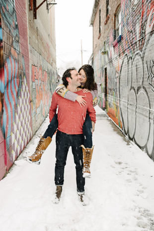 Cozy winter engagement photos