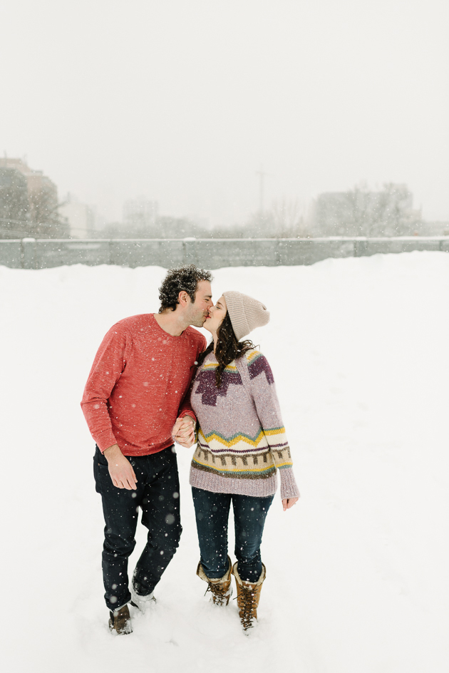 Cozy and romantic winter engagement session