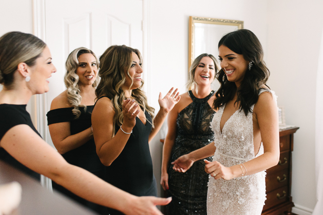 Bride's reveal with bridesmaids