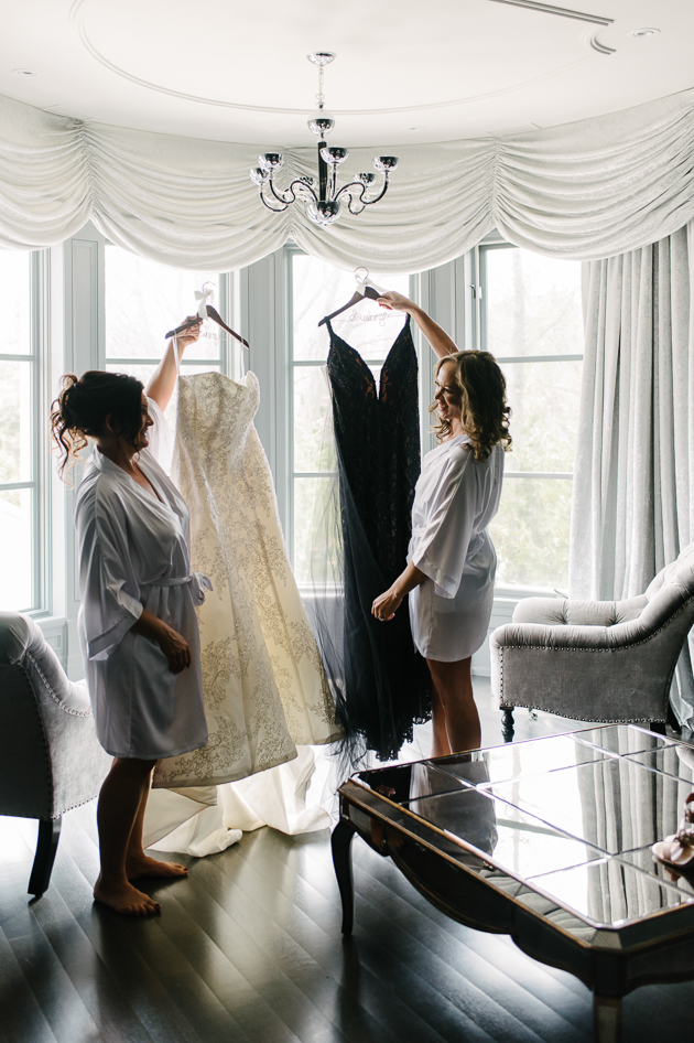 Brides getting ready at their mansion wedding in Toronto