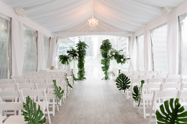 Monstera leaves decorate for a Malaparte terrace wedding