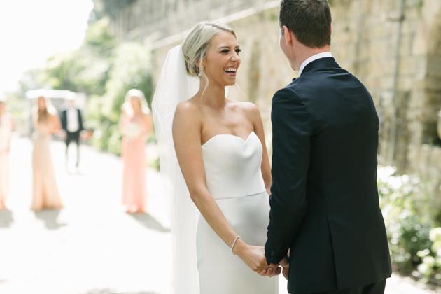 Bride and groom's first look at the Castello di Vincigliata